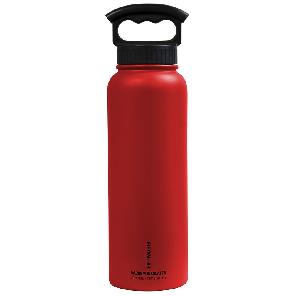 40 oz. Vacuum-Insulated Bottle with Wide-Mouth 3-Finger Handle Lid in Cherry