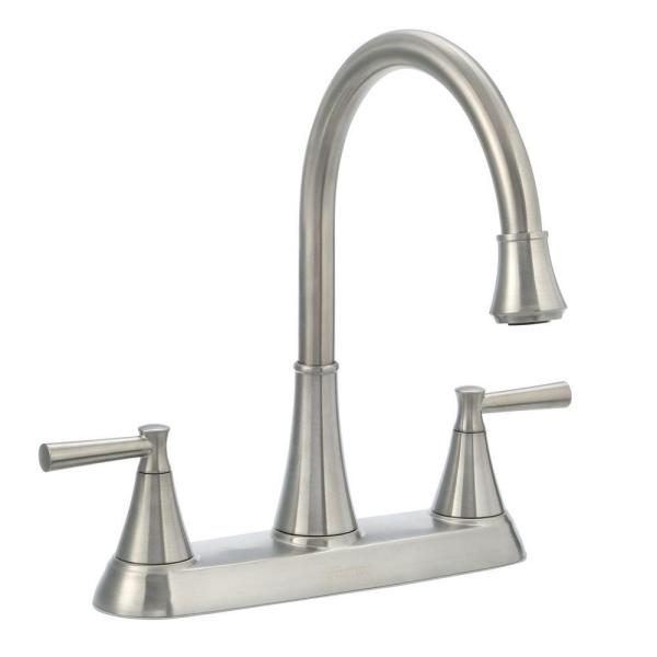 Cantara High-Arc 2-Handle Standard Kitchen Faucet with Side Sprayer in Stainless Steel