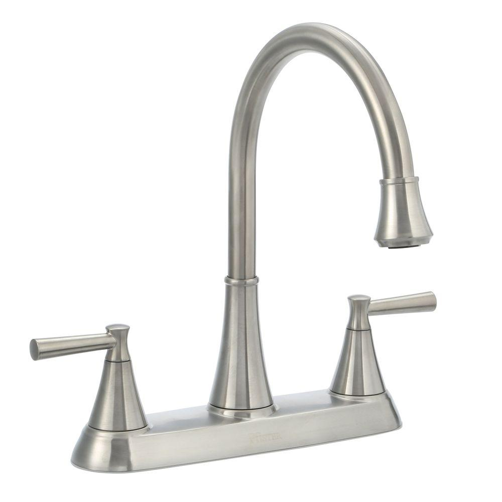 Pfister Cantara High Arc 2 Handle Standard Kitchen Faucet With Side Sprayer In Stainless Steel F 036 4crs The Home Depot