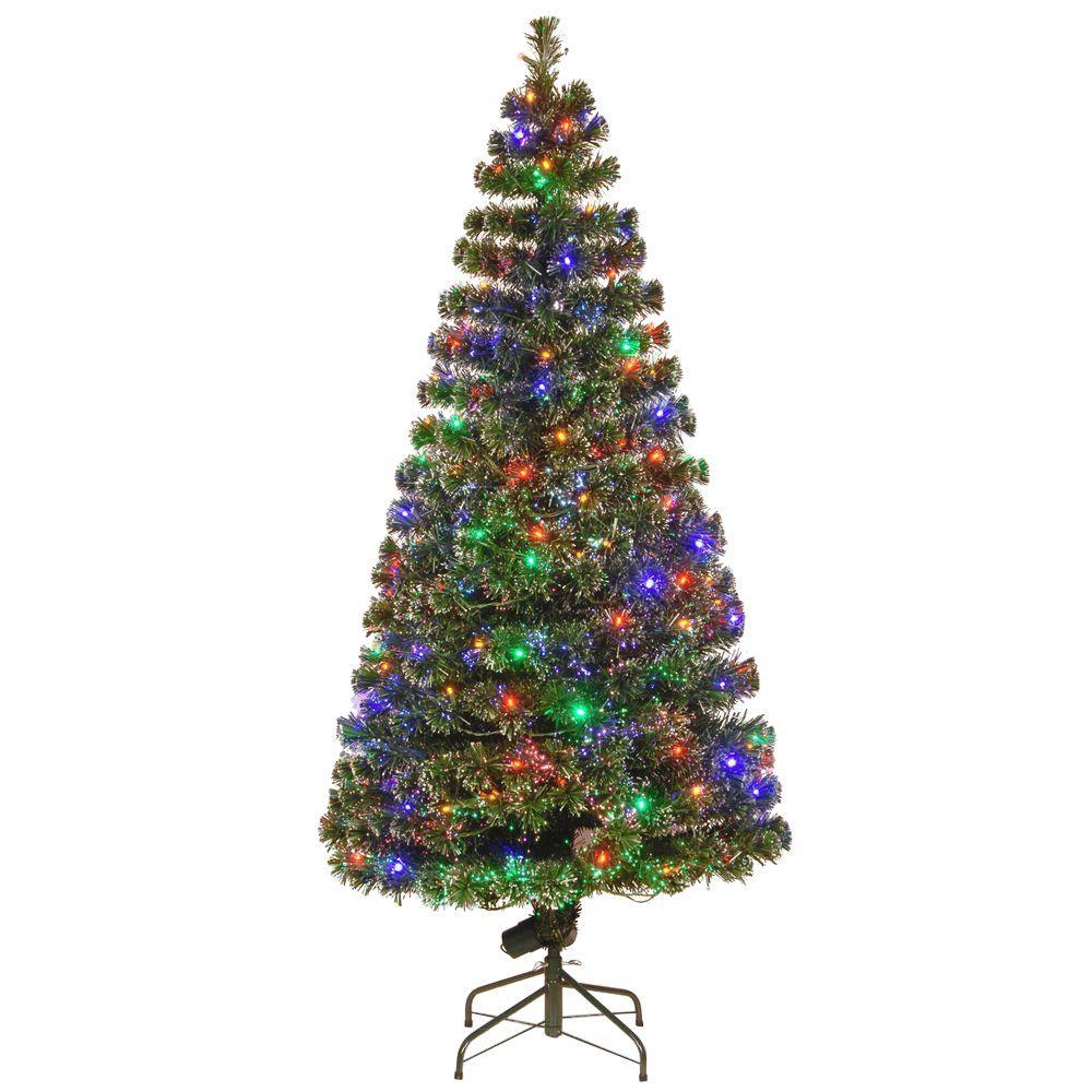 Fiber Optic Evergreen Artificial Christmas Tree with LED Lights - Fiber Optic Artificial Tree - The Home Depot