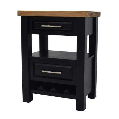 York Black Kitchen Island