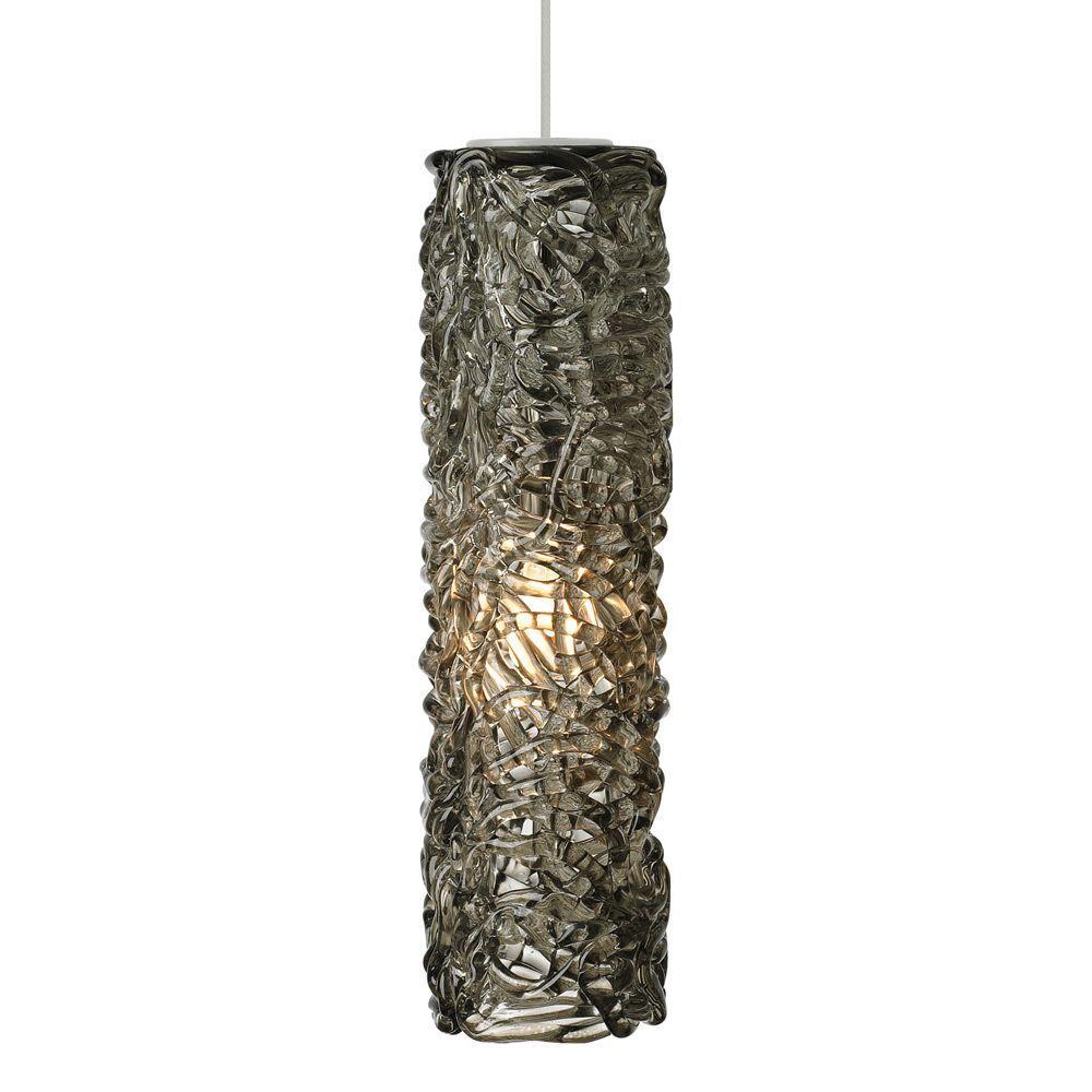 LBL Lighting Mini-Isis Cylinder 1-Light Satin Nickel LED Hanging Mini Pendant with Smoke Shade