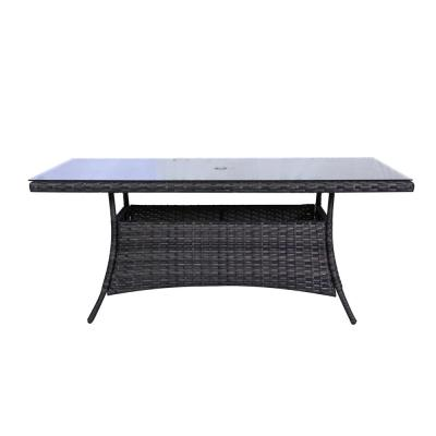 Bora Bora Wicker Outdoor Dining Table with Glass Top