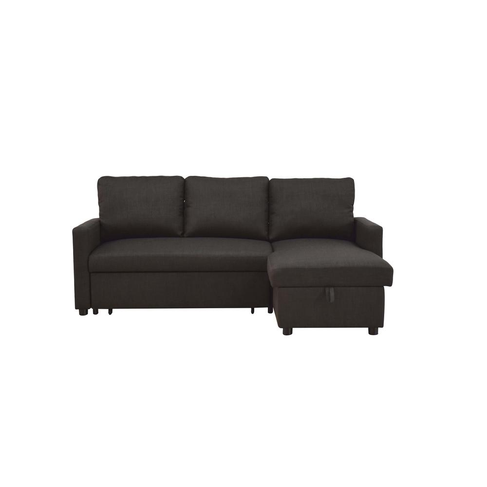 Hiltons Charcoal Linen Sectional Sofa with Sleeper