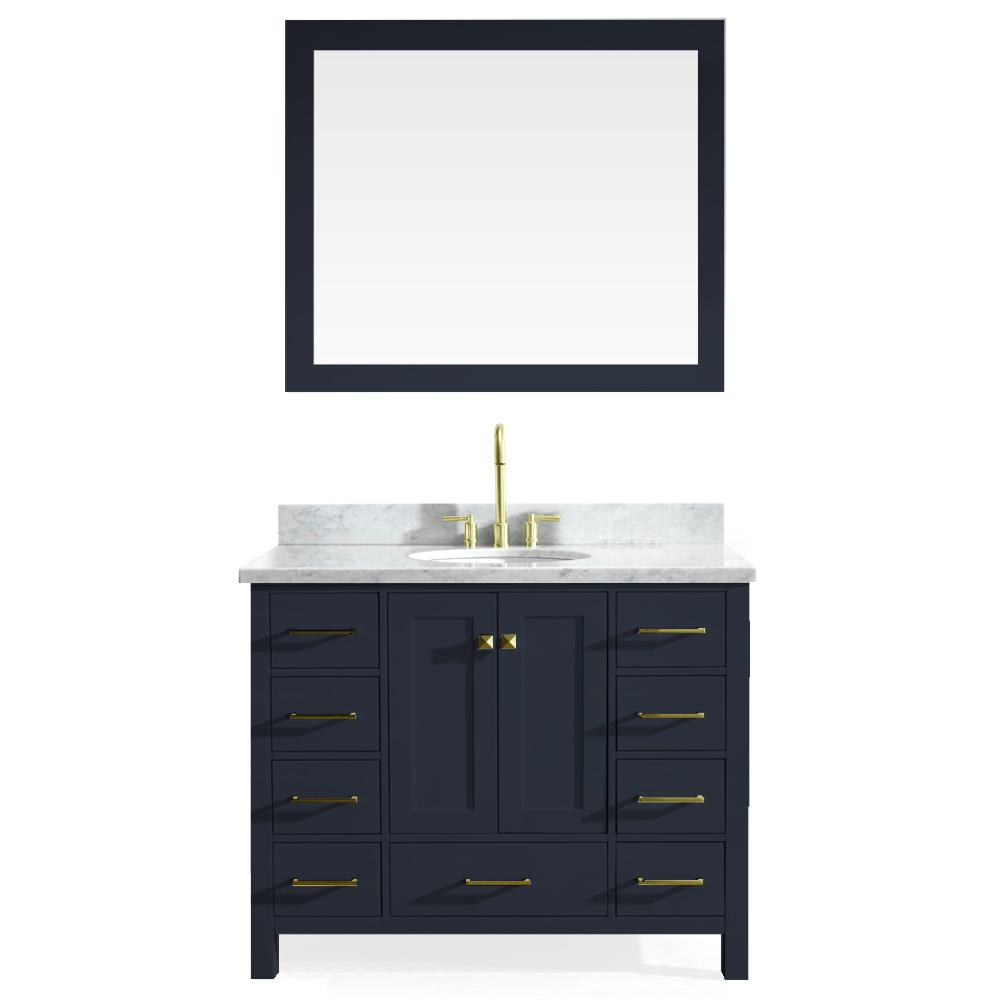 Ariel Cambridge 43 in. W x 22 in. D Vanity in Midnight Blue with Marble Vanity Top in White with White Basin and Mirror