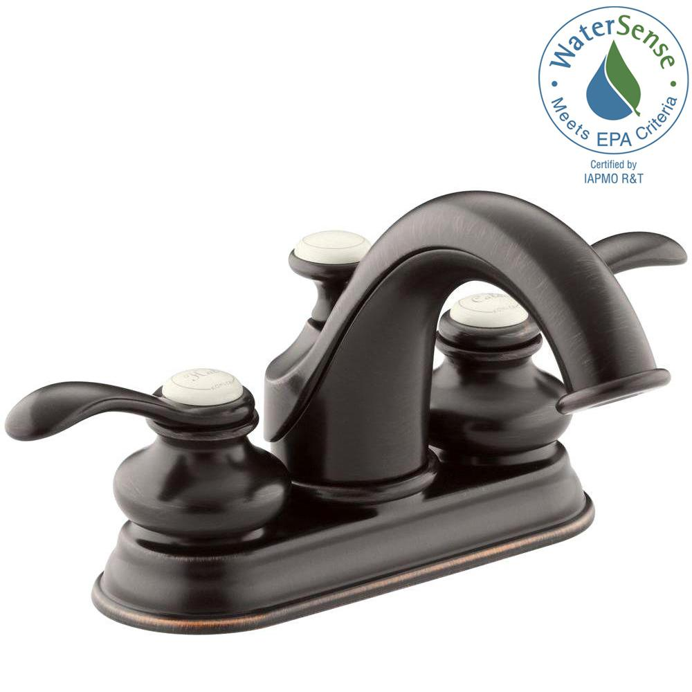 KOHLER Fairfax 4 in. Centerset 2-Handle Mid-Arc Water-Saving ...