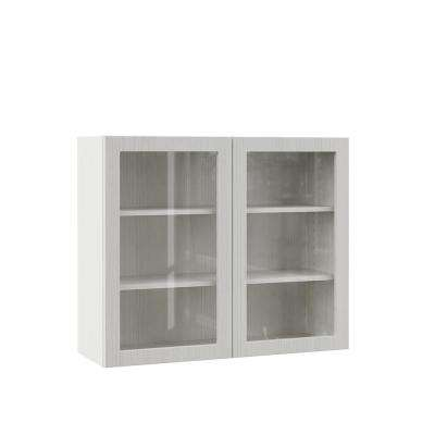 Designer Series Edgeley Assembled 36x30x12 in. Wall Kitchen Cabinet with Glass Doors in Glacier