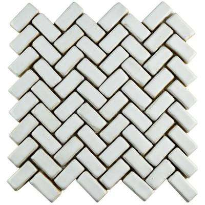 Cobble Herringbone White 11 in. x 11-1/2 in. x 13 mm Ceramic Mosaic Tile