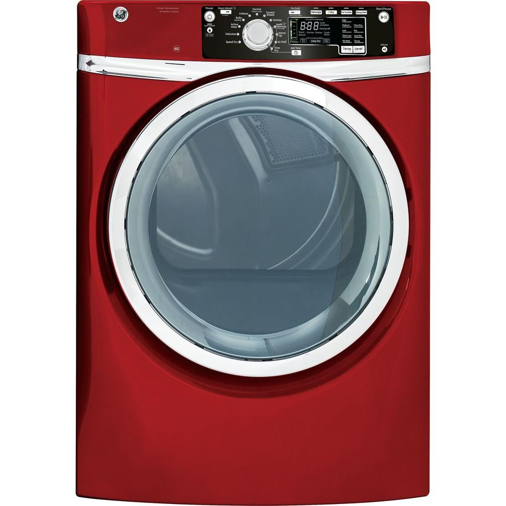 GE 8.1 cu. ft. Gas Dryer with Steam in Ruby Red
