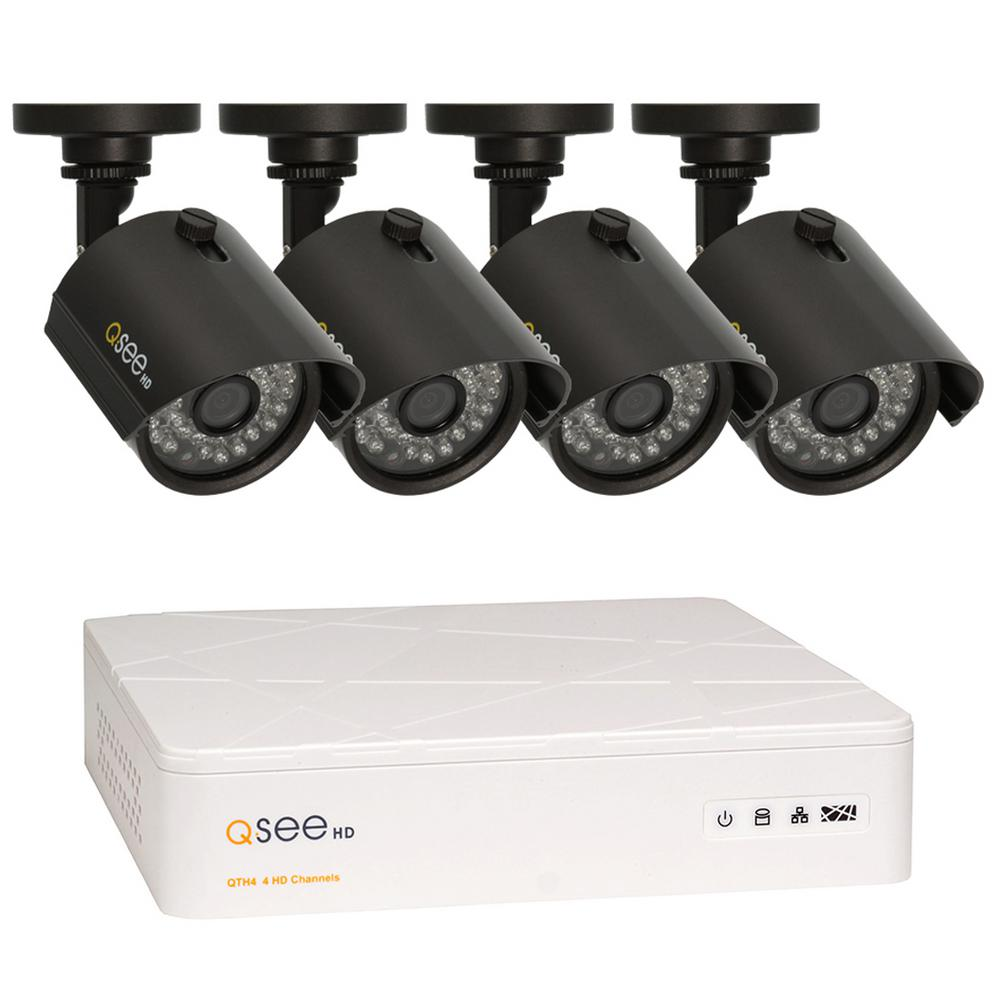 Q-SEE Wired 8-Channel 720p 1TB Video Surveillance System with (4) 720p Cameras and 100 ft. Night Vision