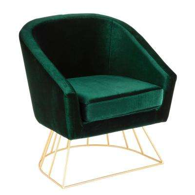 Canary Gold and Green Velvet Tub Chair