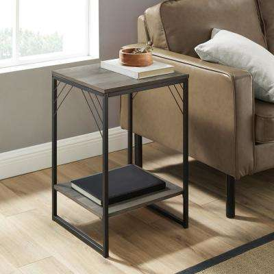 16 in. Gray Wash Industrial Metal Accent Side Table