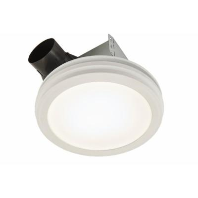 Roomside Series Decorative White 80 CFM Ceiling Bathroom Exhaust Fan with Round LED Panel and Beveled Frame ENERGY STAR