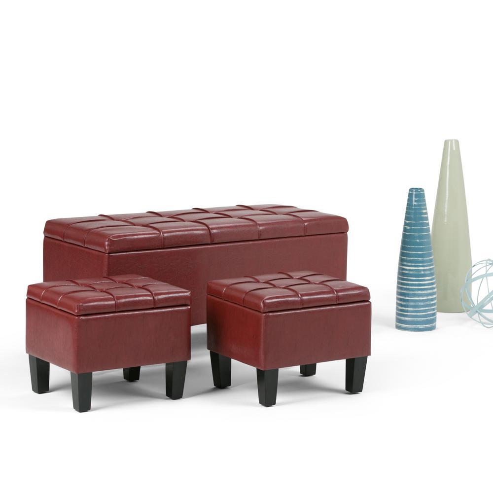 Simpli Home Dover Radicchio Red Ottoman Bench