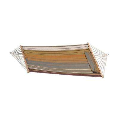 9-1/2 ft. Quilted Fabric Hammock with Spreader Bar and Detachable Pillow in Sunset Beach