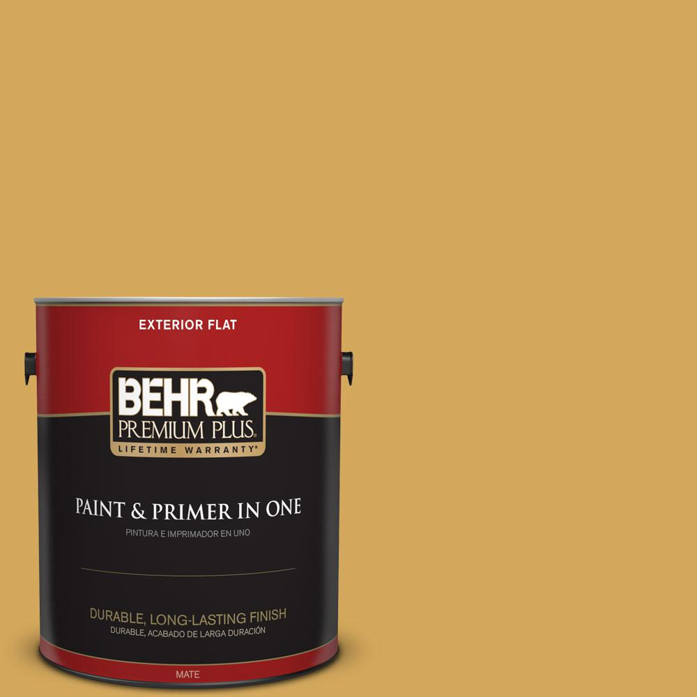 BEHR Premium Plus 1-gal. #340D-5 Galley Gold Flat Exterior Paint