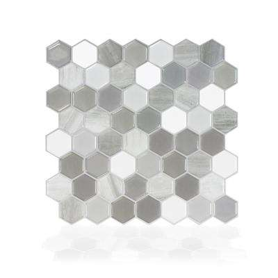 Haxagone Travertino Multi 9.76 in. W x 9.35 in. H Peel and Stick Decorative Mosaic Wall Tile Backsplash (4-Pack)