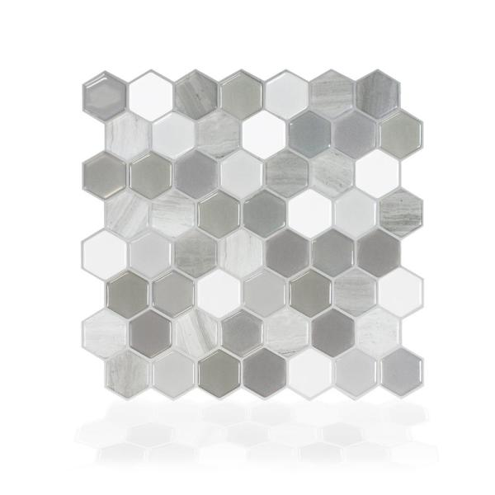Smart Tiles Hexagon Travertino 9.76 in. W x 9.35 in. H