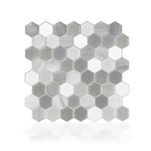 Hexagon Travertino 9.76 in. W x 9.35 in. H Grey Peel and Stick Self-Adhesive Decorative Mosaic Wall Tile Backsplash