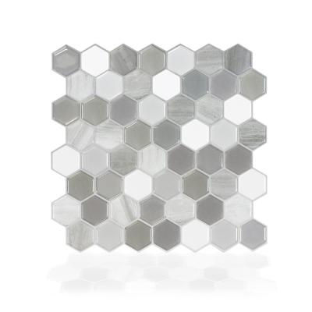 Hexagon Travertino 9.76 in. W x 9.35 in. H Grey Peel and Stick Self-Adhesive Decorative Mosaic Wall Tile Backsplash