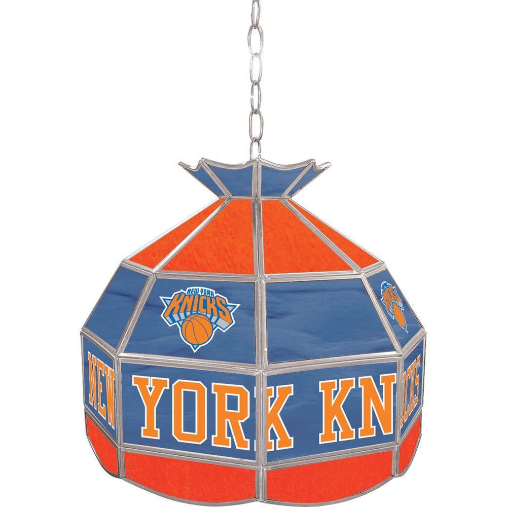 New York Knicks NBA 16 in. Nickel Hanging Tiffany Style Lamp