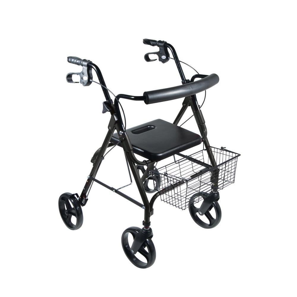 DLite 4-Wheel Rollator Walker with 8 in. Wheels and Loop Brakes in Midnight Black