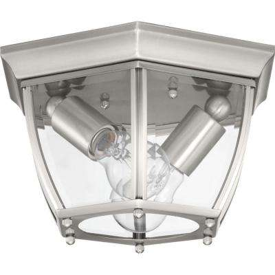 New Haven 2-Light Brushed Nickel Outdoor Flushmount