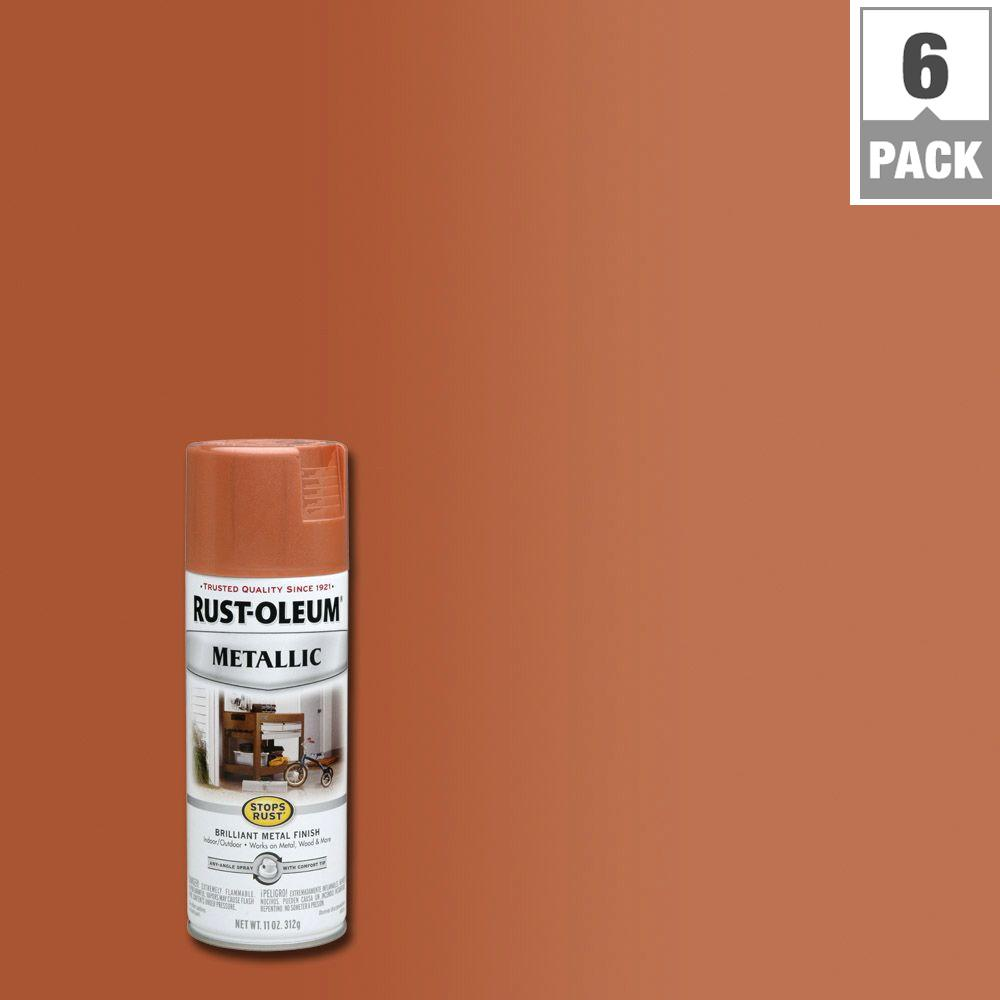 Rust oleum stops rust 11 oz copper protective enamel metallic spray paint 6 pack 7273830 for Rustoleum exterior metal paint