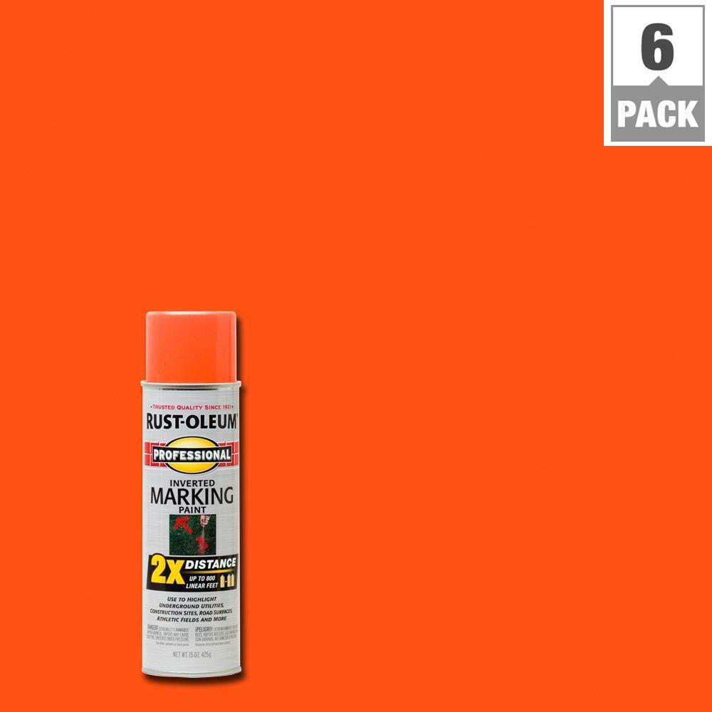 15 oz. Fluorescent Orange 2X Distance Inverted Marking Spray Paint (6-Pack)