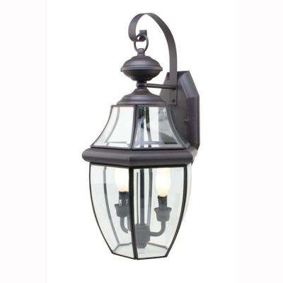 Contemporary 2-Light Outdoor Black Coach Lantern with Clear Glass
