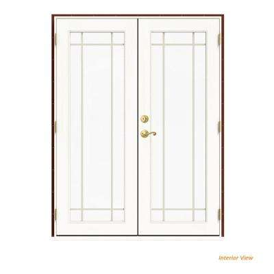 60 in. x 80 in. W-2500 Red Clad Wood Left-Hand 9 Lite French Patio Door w/White Paint Interior