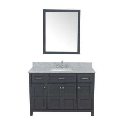 Vancouver 49 in. W x 22 in. D Bath Vanity in Gray with Marble Vanity Top in White with White Basin and Mirror