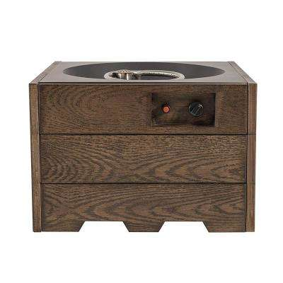 26.4 in. x 18.8 in. Square Steel Propane Fire Pit in Wood Grain Finish