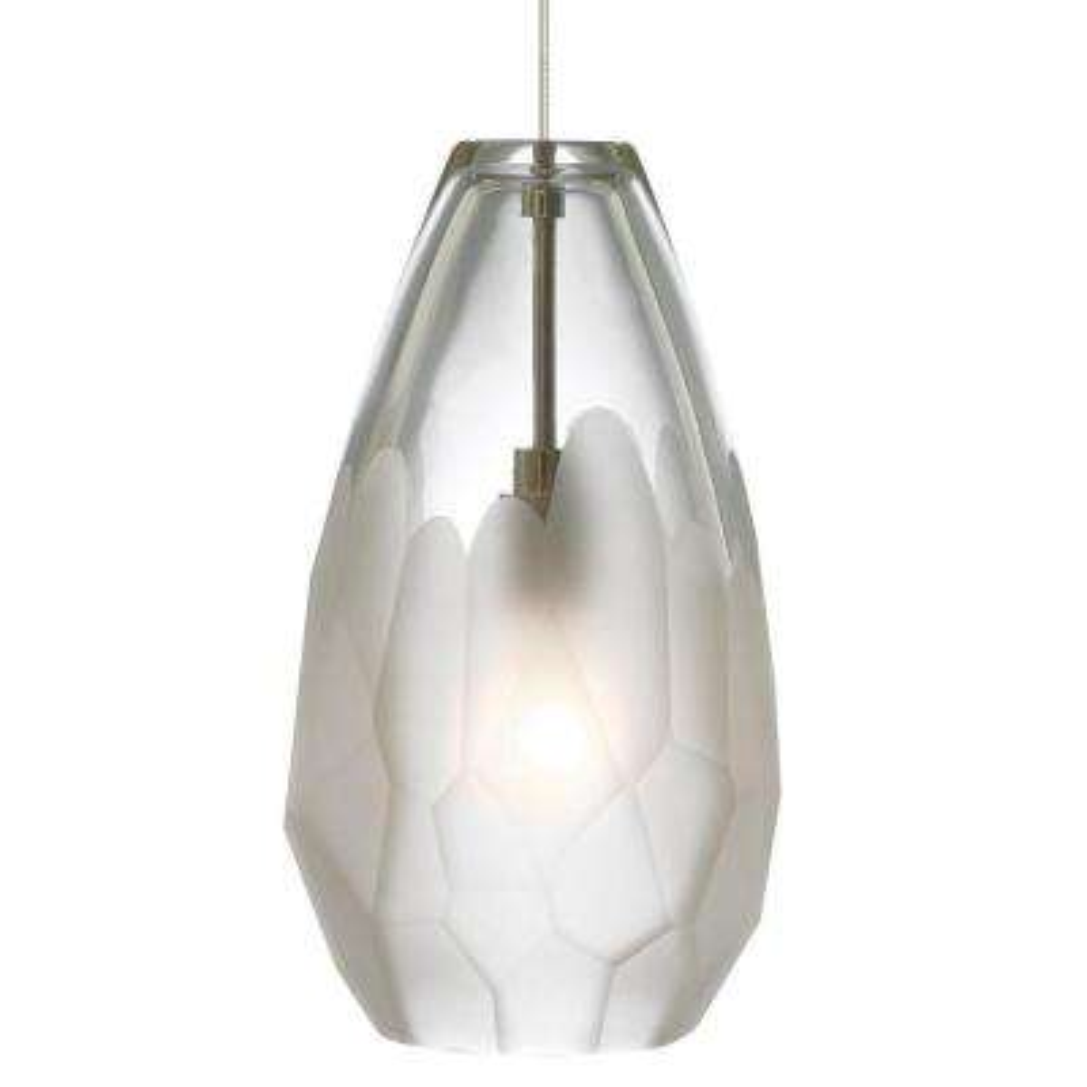 Briolette 1-Light Satin Nickel Frost LED Hanging Mini Pendant