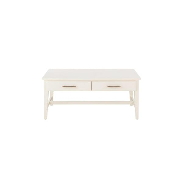 Bellamy Rectangular Ivory Wood 2 Drawer Coffee Table (42 in. W x 18 in. H)