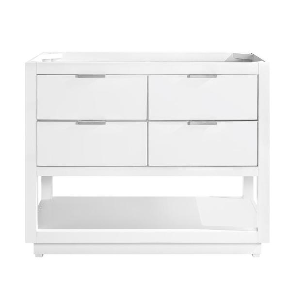 Allie 42 in. Bath Vanity Cabinet Only in White with Silver Trim