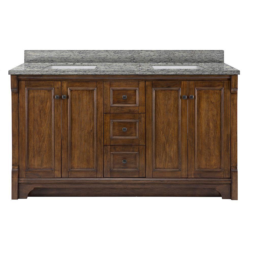 Creedmoor 61 in. W x 22 in. D Vanity in Walnut with Granite Vanity Top in Santa Cecilia with White Sinks
