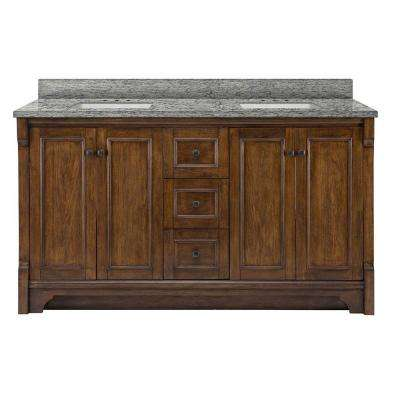 Creedmoor 61 in. W x 22 in. D Vanity in Walnut with Granite Vanity Top in Santa Cecilia with White Basins