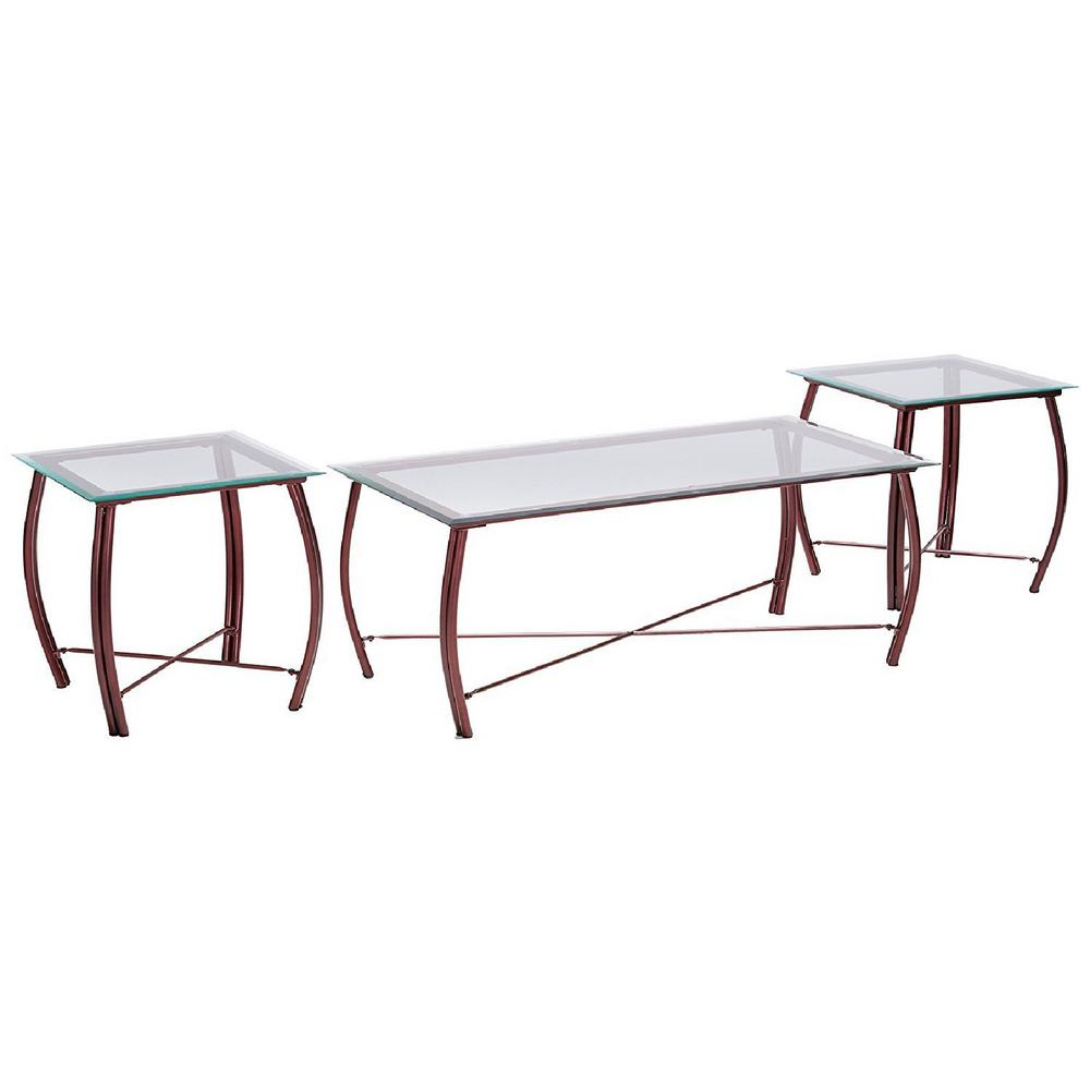 Kings Brand Furniture Beveled Glass Top Copper Coffee Table And 2