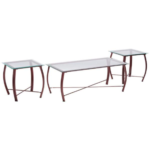 Kings Brand Furniture Beveled Glass Top Copper Coffee Table and 2-End