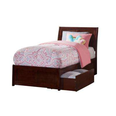 Portland Walnut Twin Platform Bed with Matching Foot Board with 2-Urban Bed Drawers