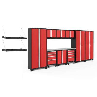 Bold Series 3.0 77.25 in. H x 162 in. W x 24 in. D 24-Gauge Steel Cabinet Set in Red (10-Piece)