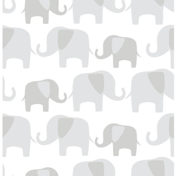 NuWallpaper Grey Elephant Parade Peel and Stick Wallpaper NU1405