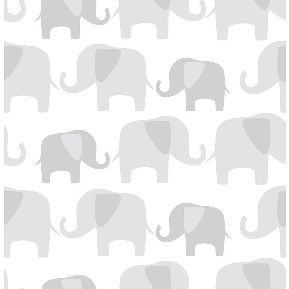 NuWallpaper Grey Elephant Parade Peel and Stick Wallpaper Sample NU1405SAM