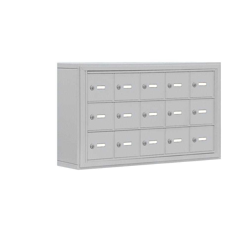 19000 Series 37 in. W x 20 in. H x 6.25 in. D 15 A Doors S-Mount Keyed Locks Cell Phone Locker in Aluminum