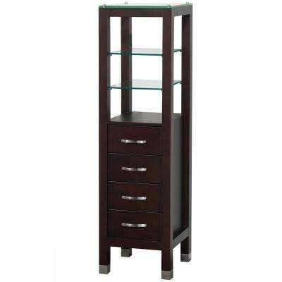 Tavello 16-1/4 in. W x 59-3/4 in. H x 16 in. D Bathroom Linen Storage Tower Cabinet in Espresso