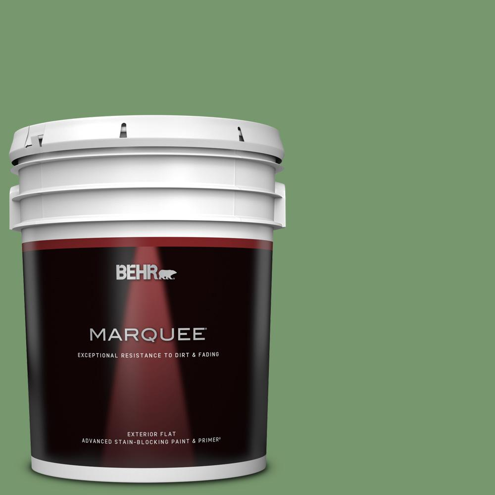 Behr Marquee 5 Gal Ppu11 03 Botanical Green Flat Exterior Paint And Primer In One 445305 The Home Depot