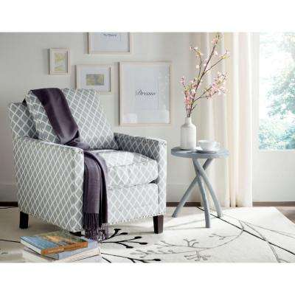 Buckler Gray/White/Espresso Polyester Arm Chair