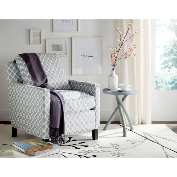 Safavieh Buckler Gray/White/Espresso Polyester Arm Chair MCR4613E