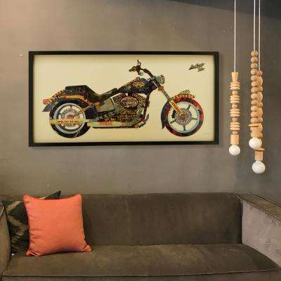"25 in. x 48 in. ""Los Angeles Rider"" Dimensional Collage Framed Graphic Art Under Glass Wall Art"